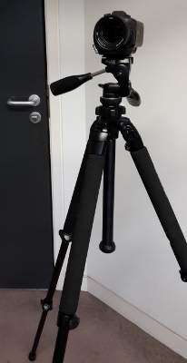 The Sony camcorder on its tripod