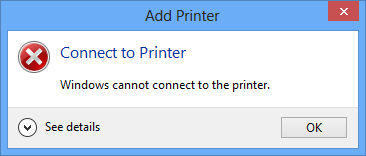 Windows<br /> 					      cannot connect to the<br /> 					      printer.
