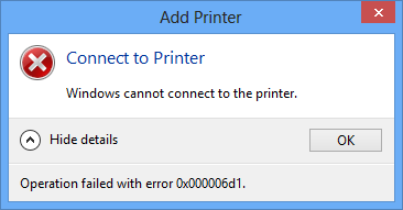 Windows cannot<br /> 					      connect to the printer.<br /> 					      Operation failed with<br /> 					      error 0x000006d1