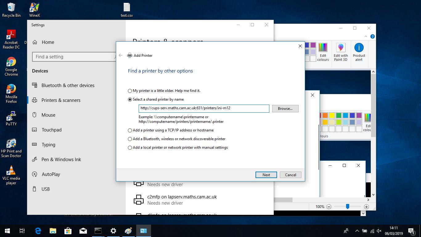 Printer configuration for Windows 8 and 10 - alternative