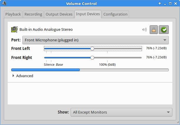 Configuring the microphone under Sound Settings