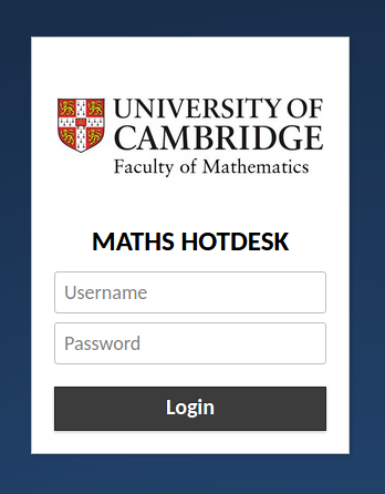 The hotdesk login screen.