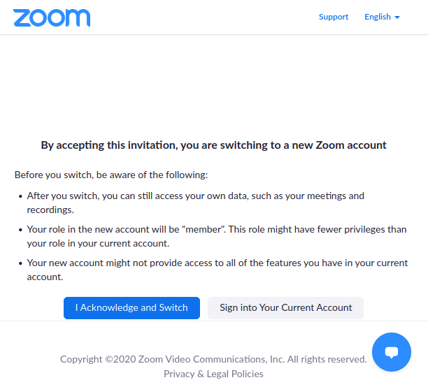 """Screenshot of zoom's invitation acceptance: text starts """"By accepting this invitation, you are switching to a new Zoom account"""""""