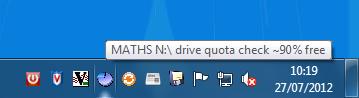 Windows quota applet