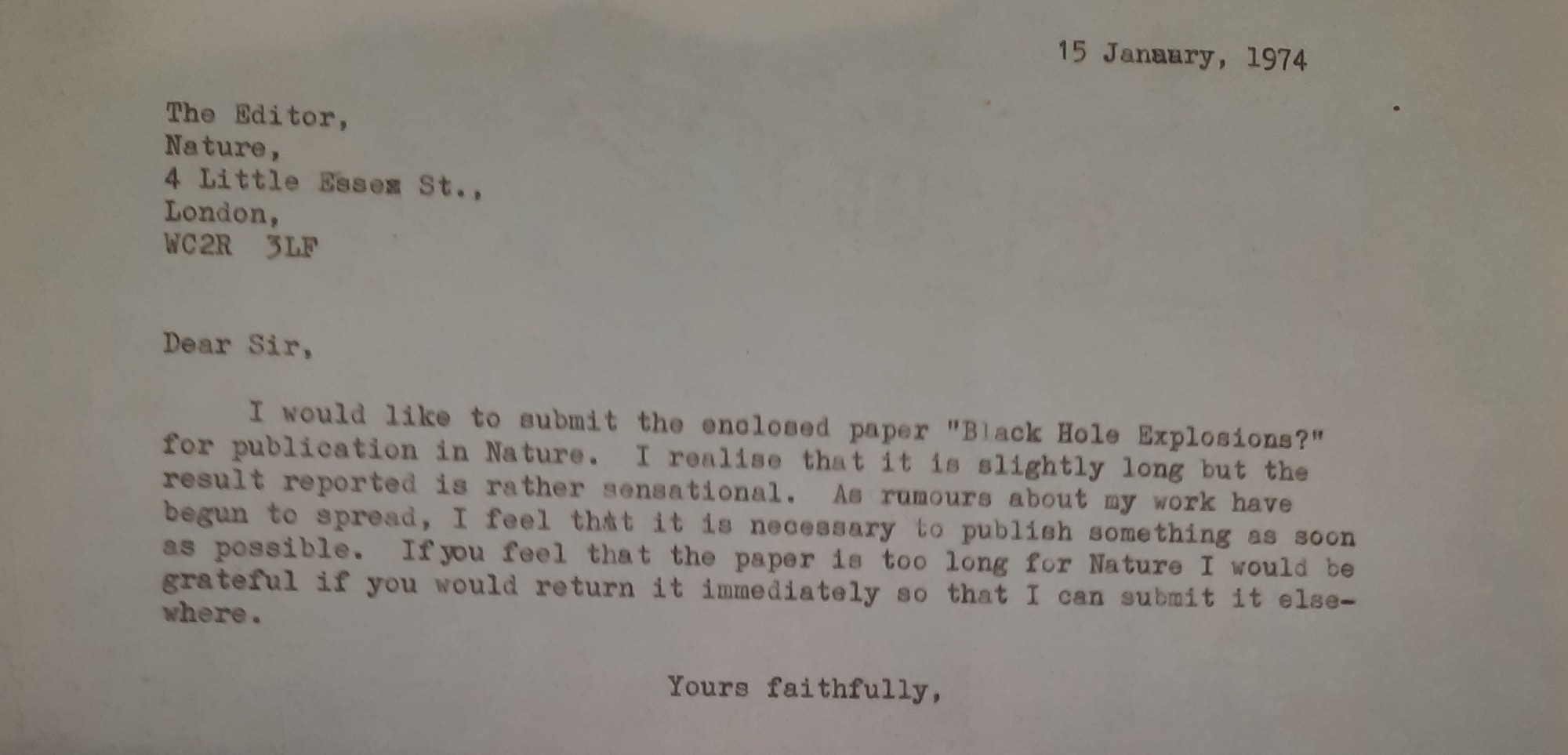 Submission letter for Hawking's paper on black hole radiation, 1974