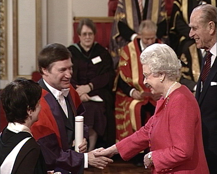 John Barrow receiving the Queen's Anniversary Prize on behalf of the Millennium Mathematics Project